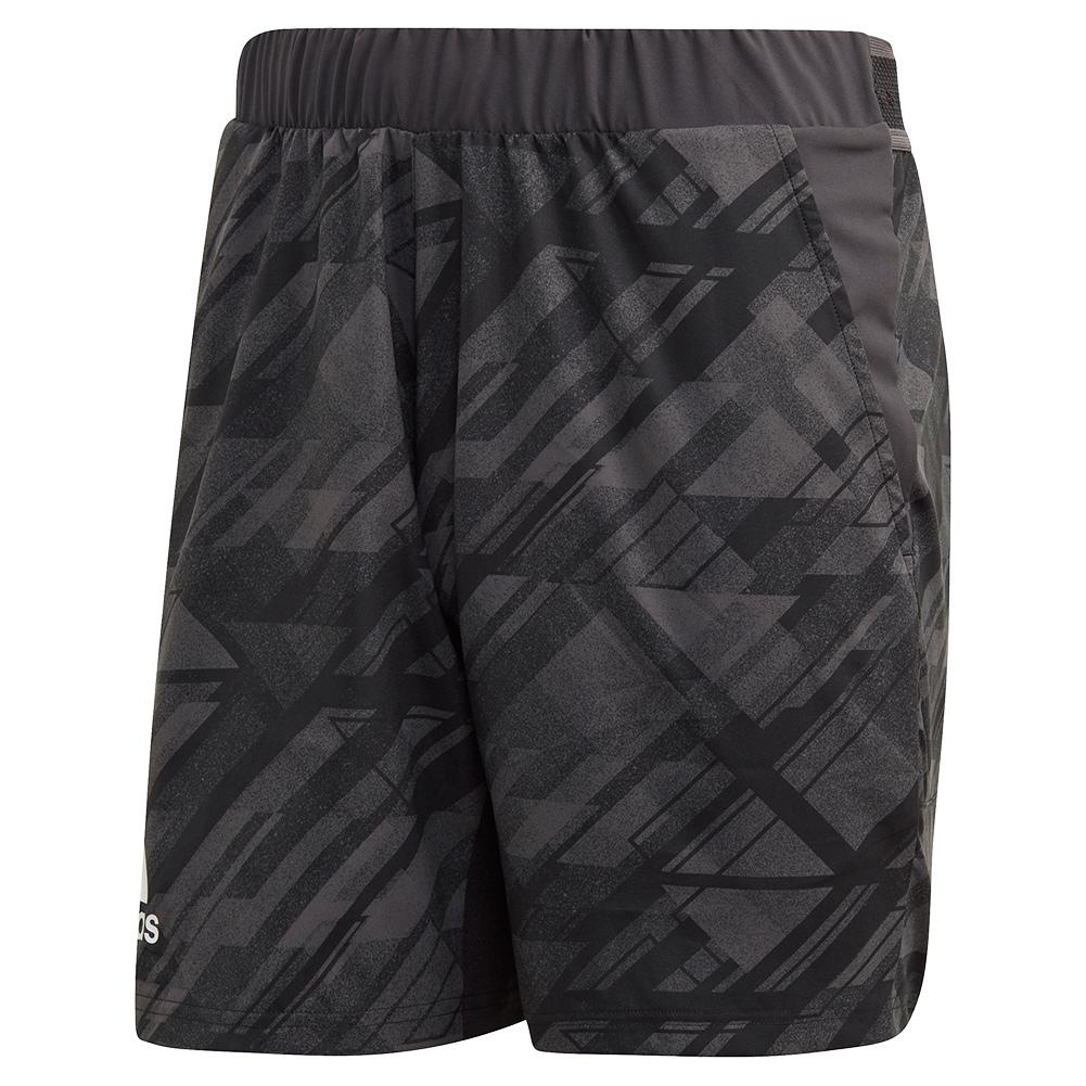 Men's Printed 7 Inch Tennis Short Black