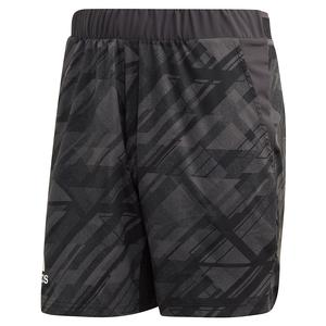 Men`s Printed 7 Inch Tennis Short Black