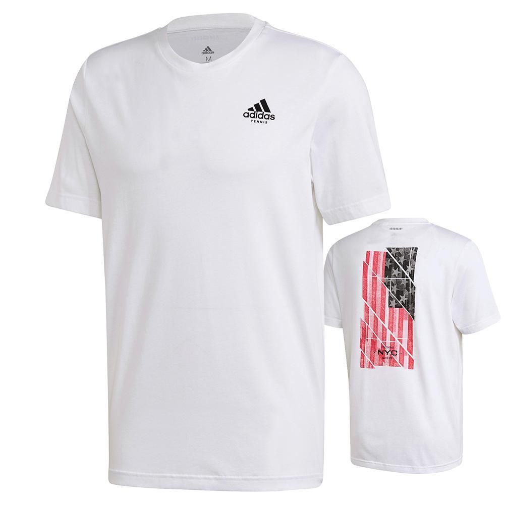 Men's Us Flag Short Sleeve Tennis Tee White