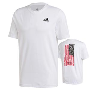 Men`s US Flag Short Sleeve Tennis Tee White