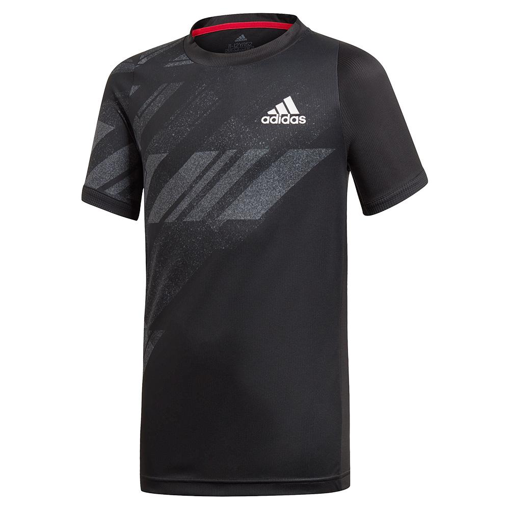 Boys ` Freelift Aeroready Print Tennis Top Black