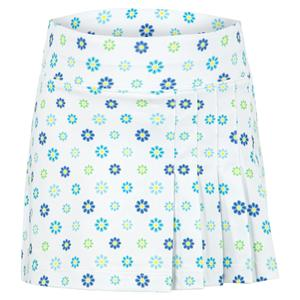 Girls` Side Pleat Tennis Skort Blossoms Print