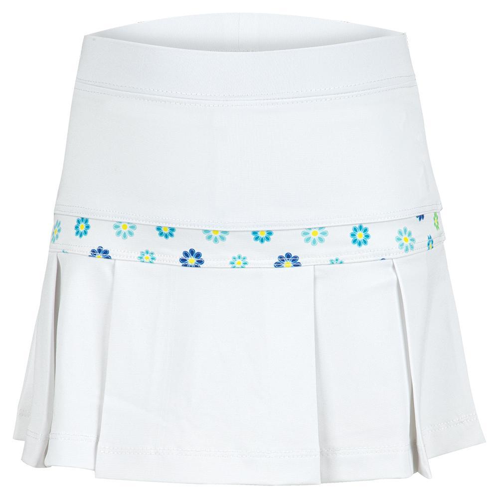Girls'semi Pleat Tennis Skort White With Blossoms Print Trim