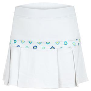 Girls` Semi Pleat Tennis Skort White with Blossoms Print Trim