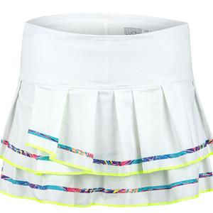 Women`s Micro Stripe Tennis Skort White and Multicolor Detail