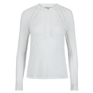 Women`s Raglan Zip Long Sleeve Tennis Top White