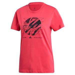 Women`s Graphic Short Sleeve Tennis Top Power Pink
