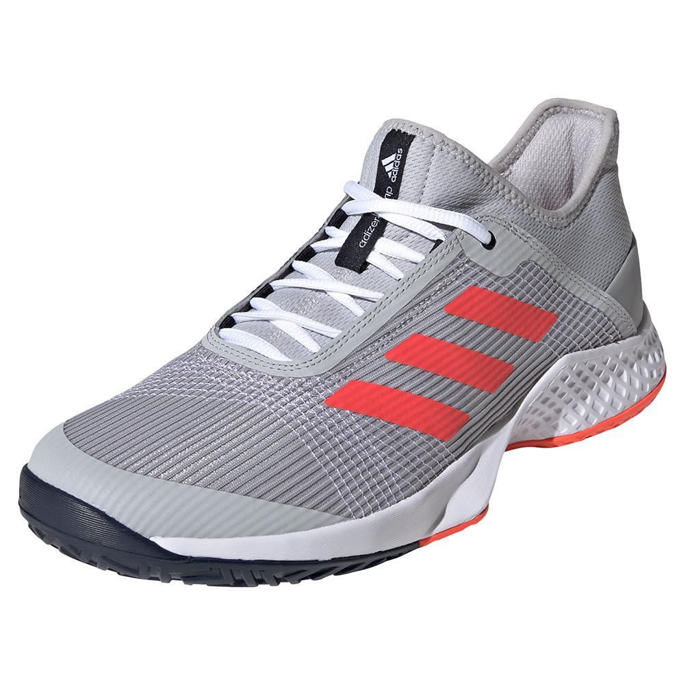 Juniors ` Adizero Club 2 Tennis Shoes Gray Two And Solar Red