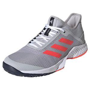 Juniors` Adizero Club 2 Tennis Shoes Gray Two and Solar Red