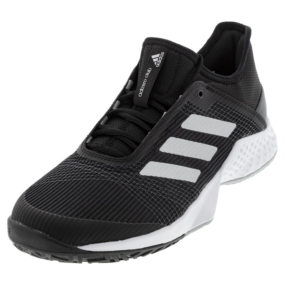 Juniors ` Adizero Club 2 Tennis Shoes Black And Silver Metallic
