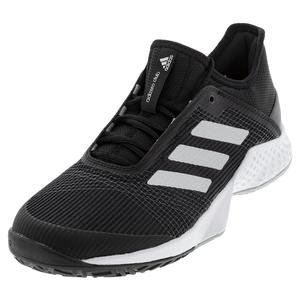 Juniors` Adizero Club 2 Tennis Shoes Black and Silver Metallic