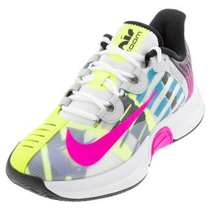 Women`s Court Air Zoom GP Turbo Tennis Shoes White and Laser Fuchsia
