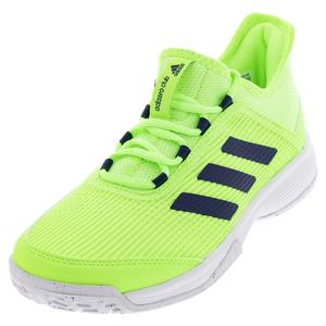 Juniors` Adizero Club K Tennis Shoes Signal Green and White