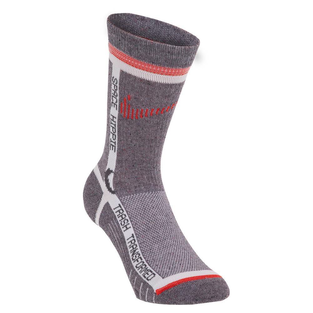Multiplier Sportswear Crew Socks Grey And Bright Crimson