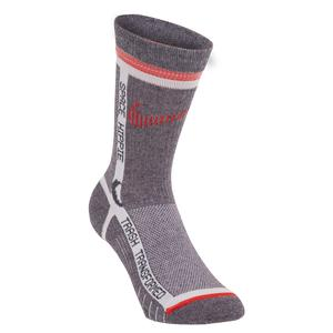 Multiplier Sportswear Crew Socks Grey and Bright Crimson