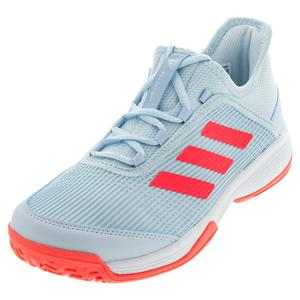 Juniors` Adizero Club K Tennis Shoes Sky Tint and Signal Pink