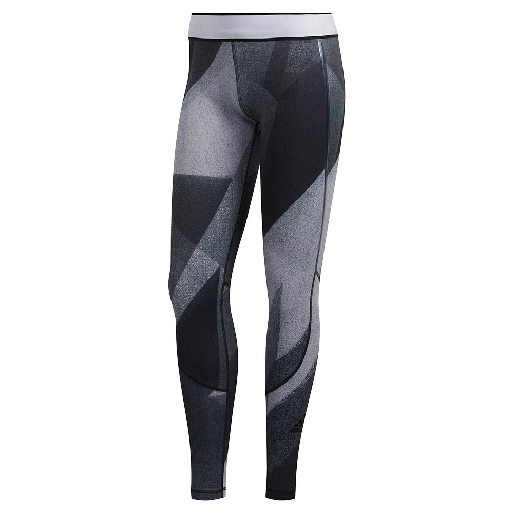 Women's Alphaskin Long Graphic Training Tights Glory Grey And White