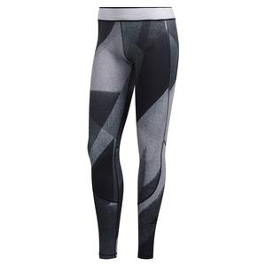 Women`s Alphaskin Long Graphic Training Tights Glory Grey and White
