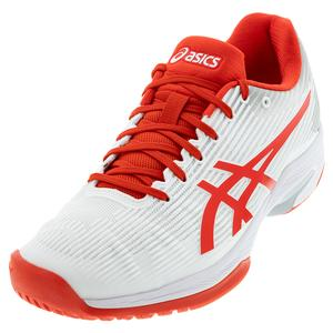 Women`s Solution Speed FF Tennis Shoes White and Fiery Red