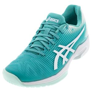 Women`s Solution Speed FF Tennis Shoes Techno Cyan and White