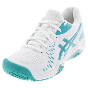 Women`s GEL-Challenger 12 Tennis Shoes White and Techno Cyan