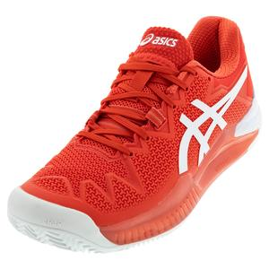 Women`s GEL-Resolution 8 Clay Tennis Shoes Fiery Red and White