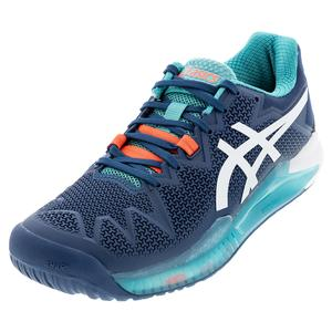 Men`s GEL-Resolution 8 Tennis Shoes Mako Blue and White