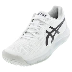Women`s GEL-Resolution 8 Tennis Shoes White and Black
