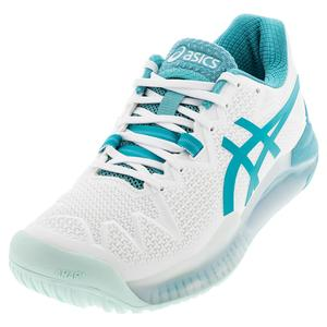 Women`s GEL-Resolution 8 Tennis Shoes White and Lagoon