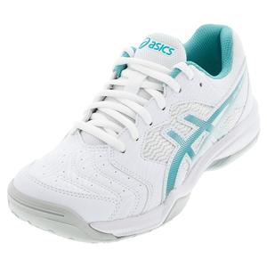 Women`s GEL-Dedicate 6 Tennis Shoes White and Techno Cyan
