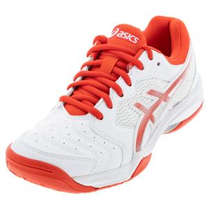 Women`s GEL-Dedicate 6 Tennis Shoes White and Fiery Red