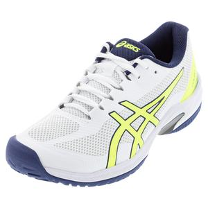 Men`s Court Speed FF Tennis Shoes White and Safety Yellow