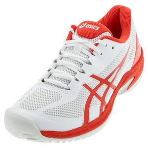 Women`s Court Speed FF Tennis Shoes White and Fiery Red
