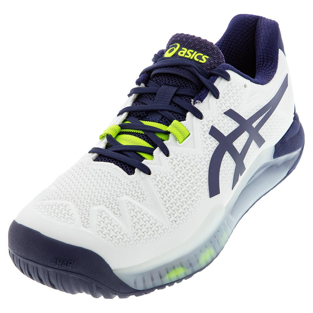 ASICS Men`s GEL-Resolution 8 Wide Tennis Shoes White and Peacoat | Tennis  Express | 1041A113-102