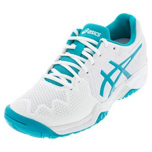 Juniors` GEL-Resolution 8 GS Tennis Shoes White and Lagoon