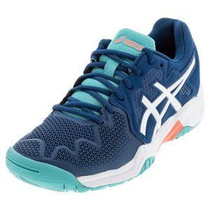Juniors` GEL-Resolution 8 GS Tennis Shoes Mako Blue and White