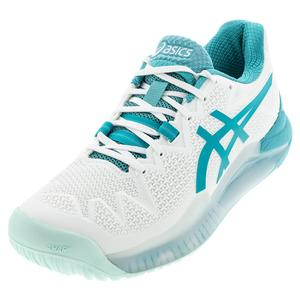 Women`s GEL-Resolution Wide 8 Tennis Shoes White and Lagoon