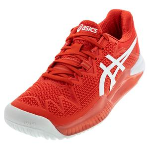 Women`s GEL-Resolution 8 Tennis Shoes Fiery Red and White