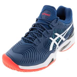 Men`s Court FF 2 Tennis Shoes Mako Blue and White