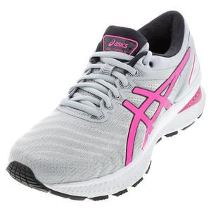 Women`s Gel-Nimbus 22 Running Shoes Piedmont Gray and Hot Pink