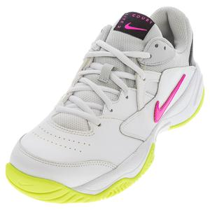 Juniors` Court Lite 2 Tennis Shoes White and Laser Fuchsia