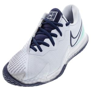 Women`s Air Zoom Vapor Cage 4 Tennis Shoes Football Grey and Midnight Navy