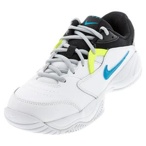 Juniors` Court Lite 2 Tennis Shoes White and Neo Turq