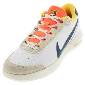Men`s Court Air Max Vapor Wing Premium Tennis Shoes White and Valerian Blue
