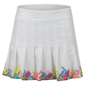 Women`s Long Plaid Pleated Tennis Skort White