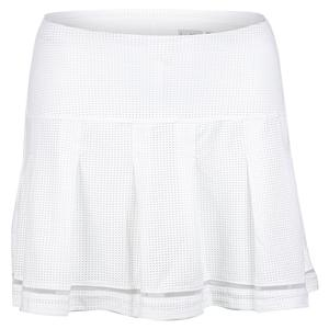 Women`s Long Micro Tuck Pleat Tennis Skort White