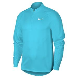 Men`s Court Challenger Long Sleeve Half Zip Tennis Top Neo Turq and White