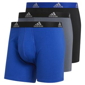 Men`s Stretch Cotton Boxer Brief 3-Pack Bold Blue and Black Onix