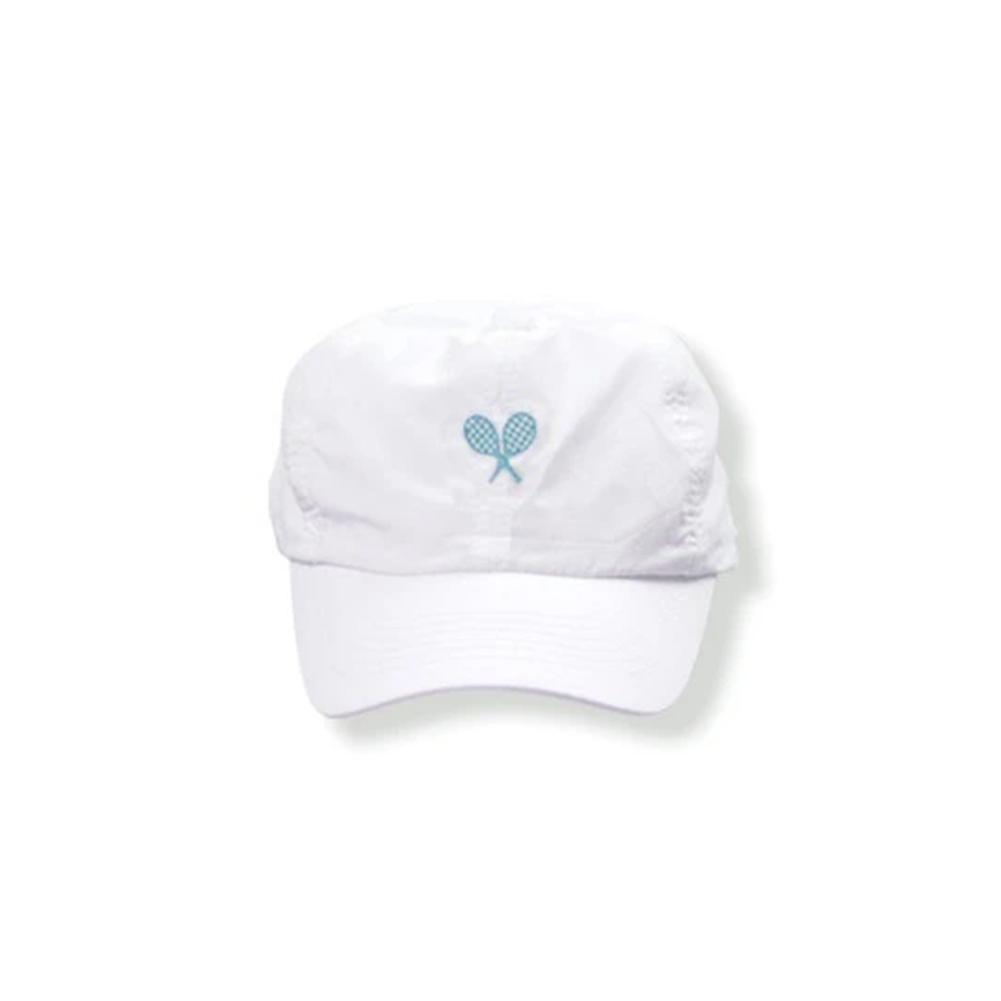 Girls ` Tennis Cap White With Blue Racquets