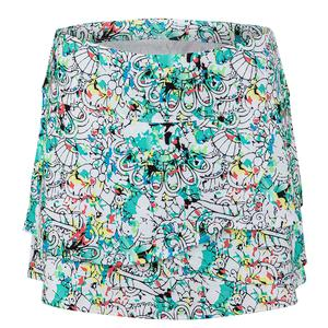 Women`s Magnolia Tennis Skort Print and White